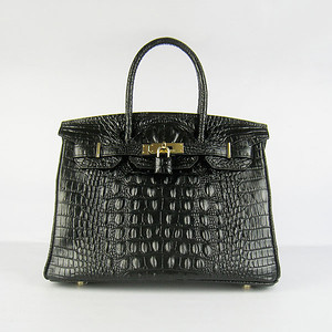 Birkin 30CM Crocodile Head Veins Black 6088 Gold