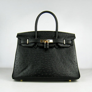 Birkins 30 black ostrich gold hardware