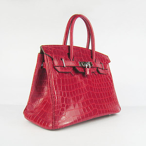 birkins 30 red croc silver hardware