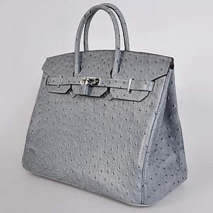 Birkins 35 grey ostrich silver hardware