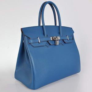 Birkins 35 denim blue silver hardware