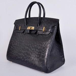 Birkins 35 black ostrich gold hardware
