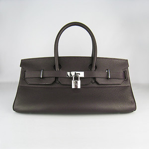Birkins 42 dark brown silver hardware