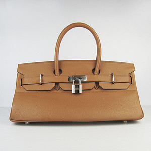 Birkins 42 light brown silver hardware