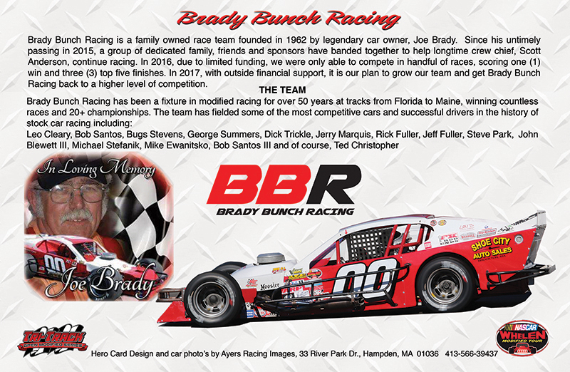Brady Bunch Racing Hero Card - Back Side