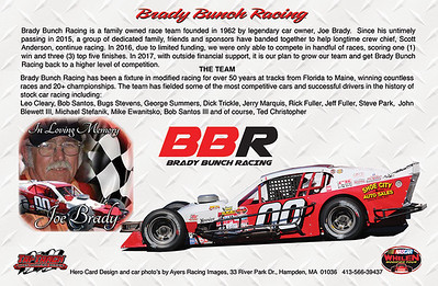 Brady Bunch Racing Hero Card - Back Side