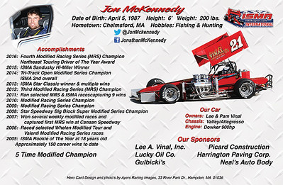 Jon McKennedy Super Modified Hero Card - back side