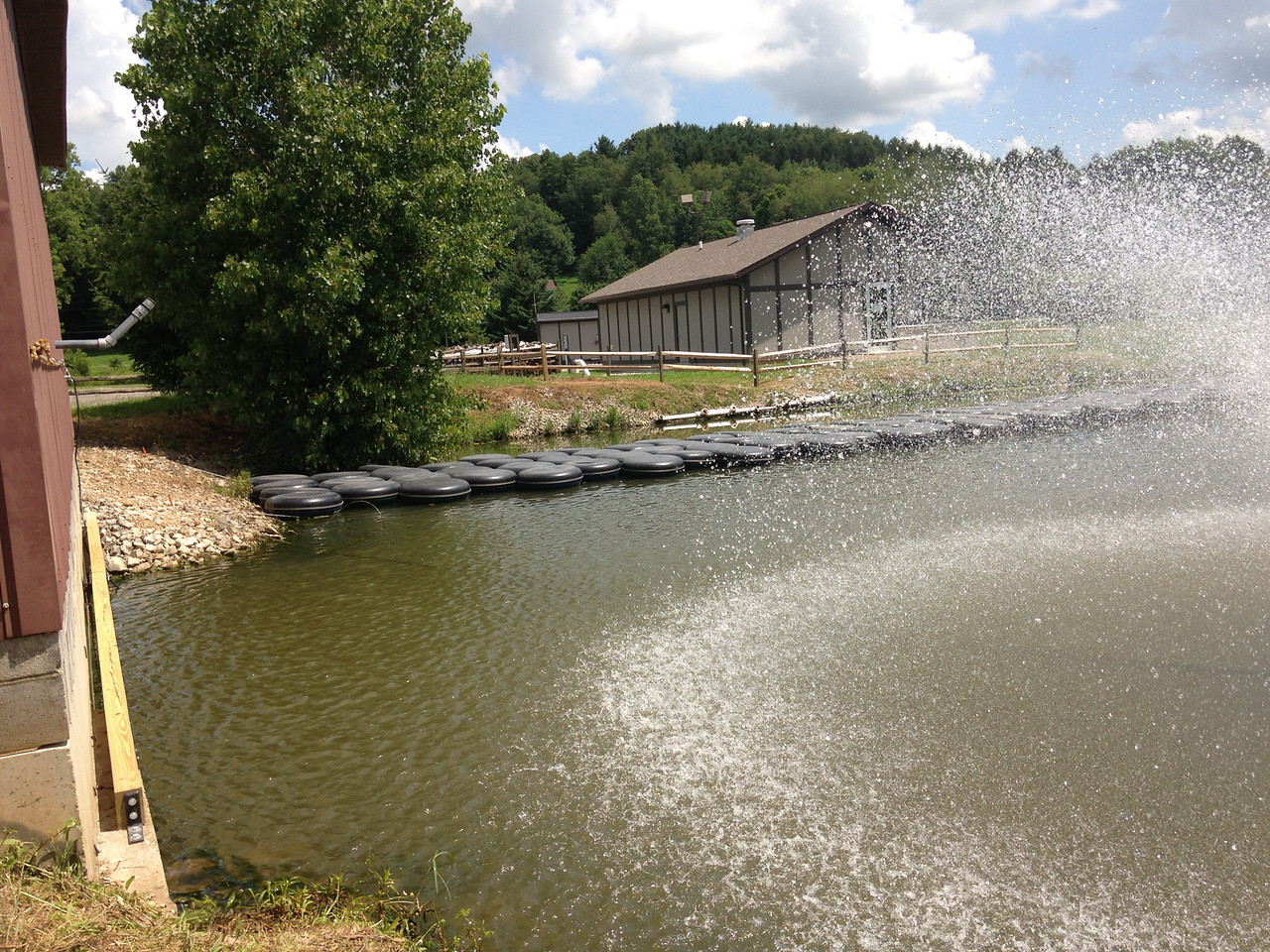 Tube Bridge: new location, spanning further across the snowmaking pond.  Pump House Shimmy: look closely at the beam and rope, snowmaking pond side.