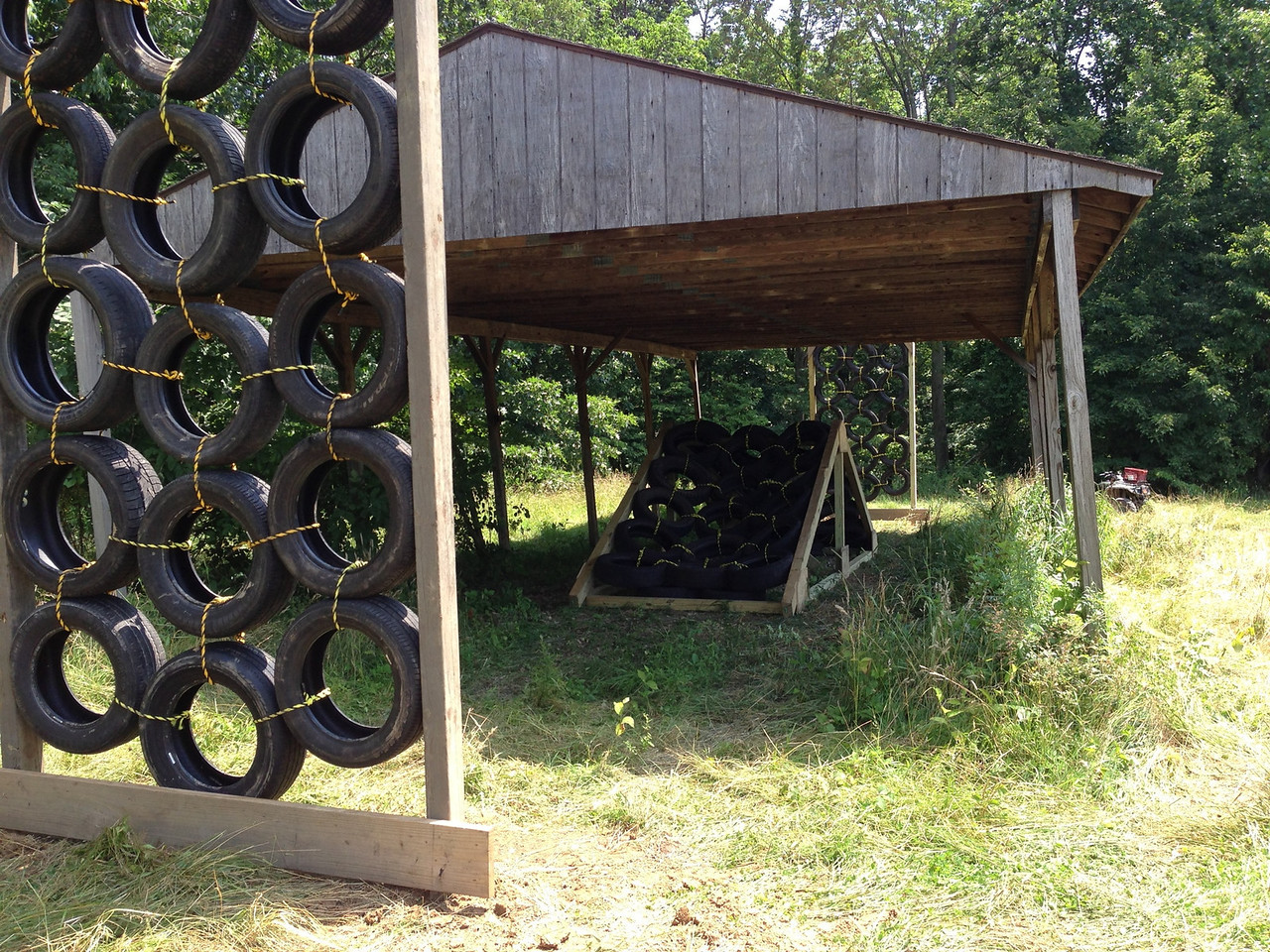 Tire Walls and A-Tire-Frame: pitching you side-to-side up and over the vertical walls and A-frame constructions. One mans trash is another mans treasure.