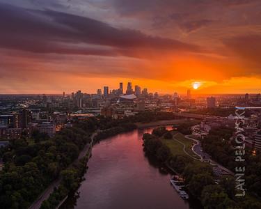 Minneapolis Rainy Splendor - Aerial