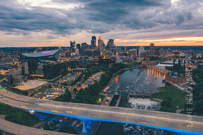 Stormy Minneapolis - Aerial