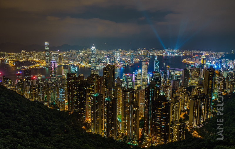 City of Hong Kong from Victoria Peak - Laser Light Shiow