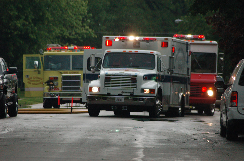 Fire departments from 3 towns responded to several houses struck by lightning in a two block area.