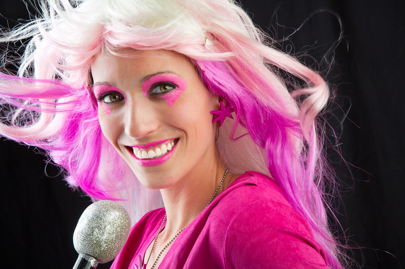 "Erin as ""Jen!"", lead singer in Jem and the Holograms"