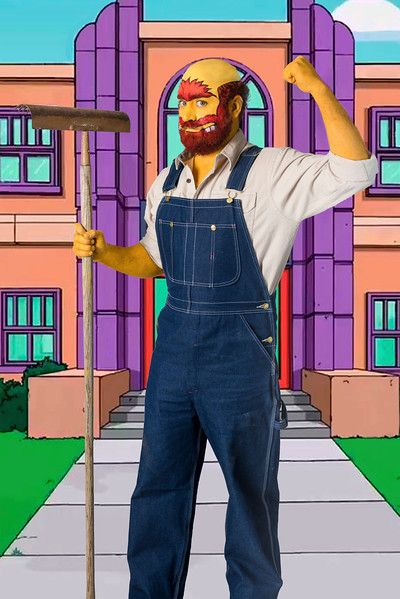 """Nathan as """"Groundskeeper Willie"""" from The Simpsons"""