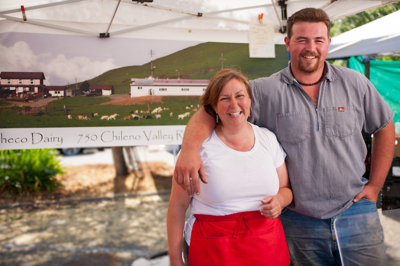"""Donna Pacheco and her son William from the Achadinha Goat Cheese Company in Petaluma.<br /> <br /> <a href=""""http://www.achadinha.com/"""">http://www.achadinha.com/</a>"""