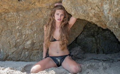 Nikon D800 Photos of Swimsuit Bikini Model Goddess in Malibu Sea Cave