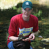 Me with Cryptobranchus allegeniensis (Hellbender); Transylvania Co, NC
