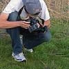 Dan photographing a prairie kingsnake found on the crawl at Rockbridge State Park.