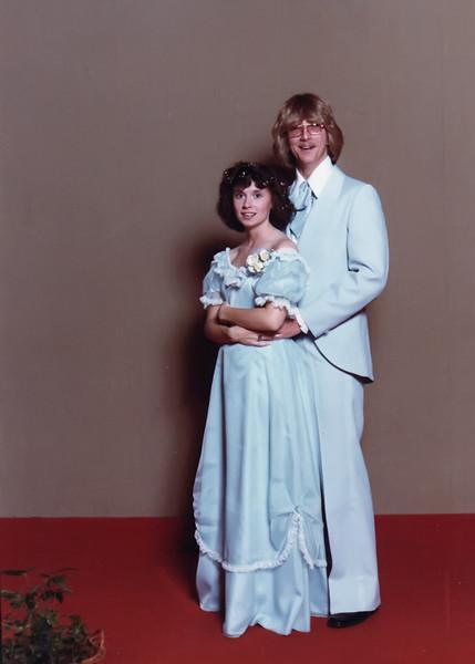 Darla and Paul senior prom 1980 at Poplars Building at IU