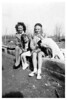 Unknown, Vicky and Kathy Myers and dog
