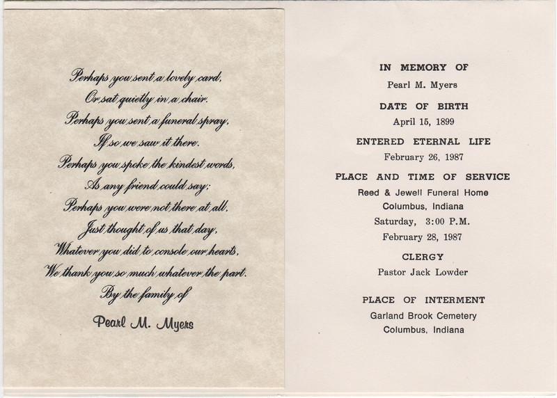 Pearl M Myers funeral progrtam