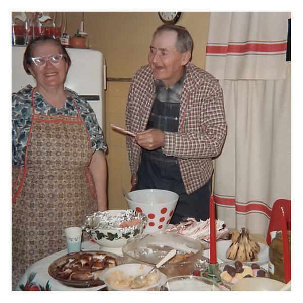 Pearl and Clarence Myers at home on Christmas day 1965