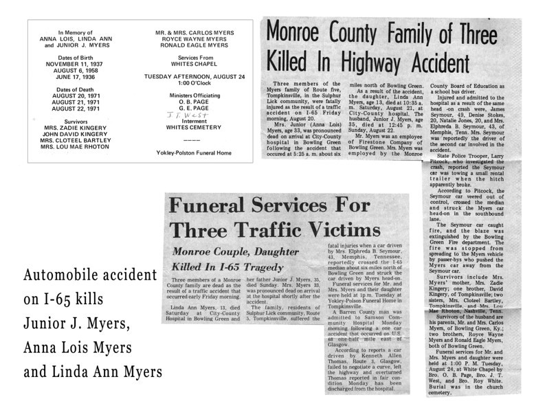 Junior, Anna and Lois Myers accident reprots and funeral program