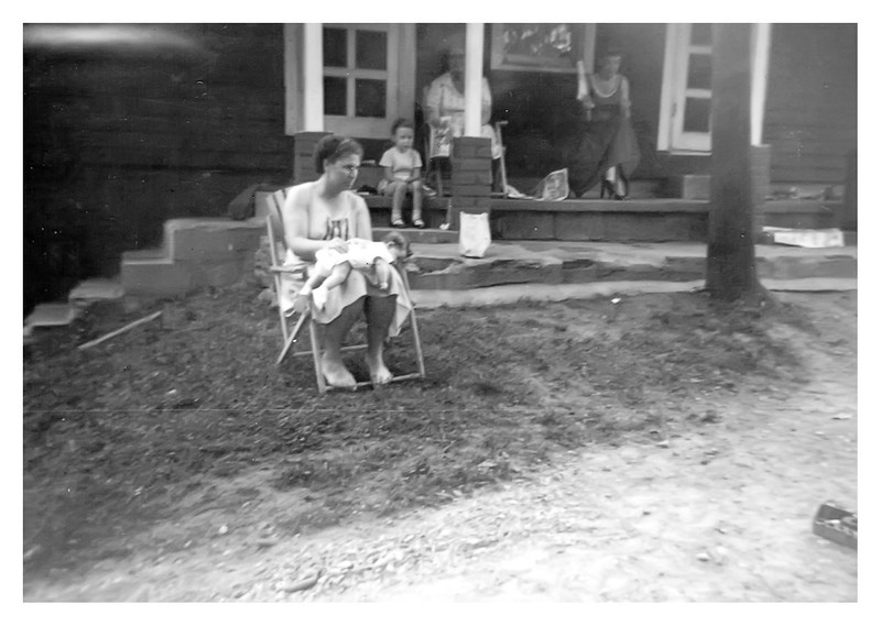 Ruby and Connie Bradley, Kathy, Pearl and Fannie Myers abt 1956 at Pearl and Clarence home in Brown County Indiana