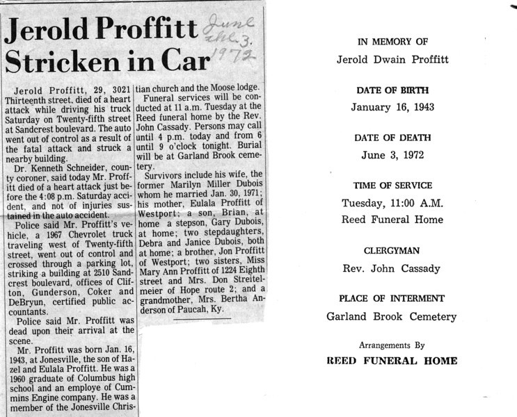 Jerold Dwain Proffitt funeral program and newspaper article