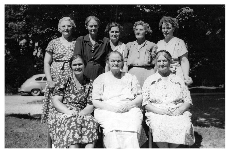 Back - Verna, Vella, Flossie, Maud and Dossie Proffitt - Front - Pearl and Etta Proffitt and Nora Cater
