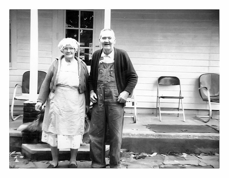 Pearl and Clarence Myers front porch