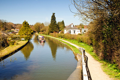 A ba.rge on the Grand union Canal in Hertfordshire UK
