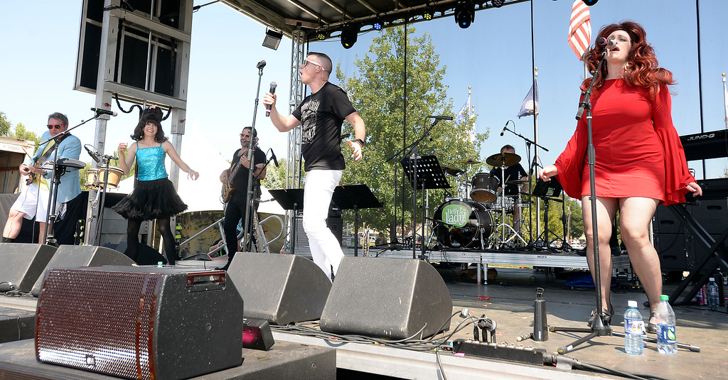 . LONGMONT, CO: August 11:  Hey, Lady!, a B-52s tribute band from Longmont, played at Leftapalooza in Longmont on Saturday. (Photo by Cliff Grassmick/Staff Photographer).