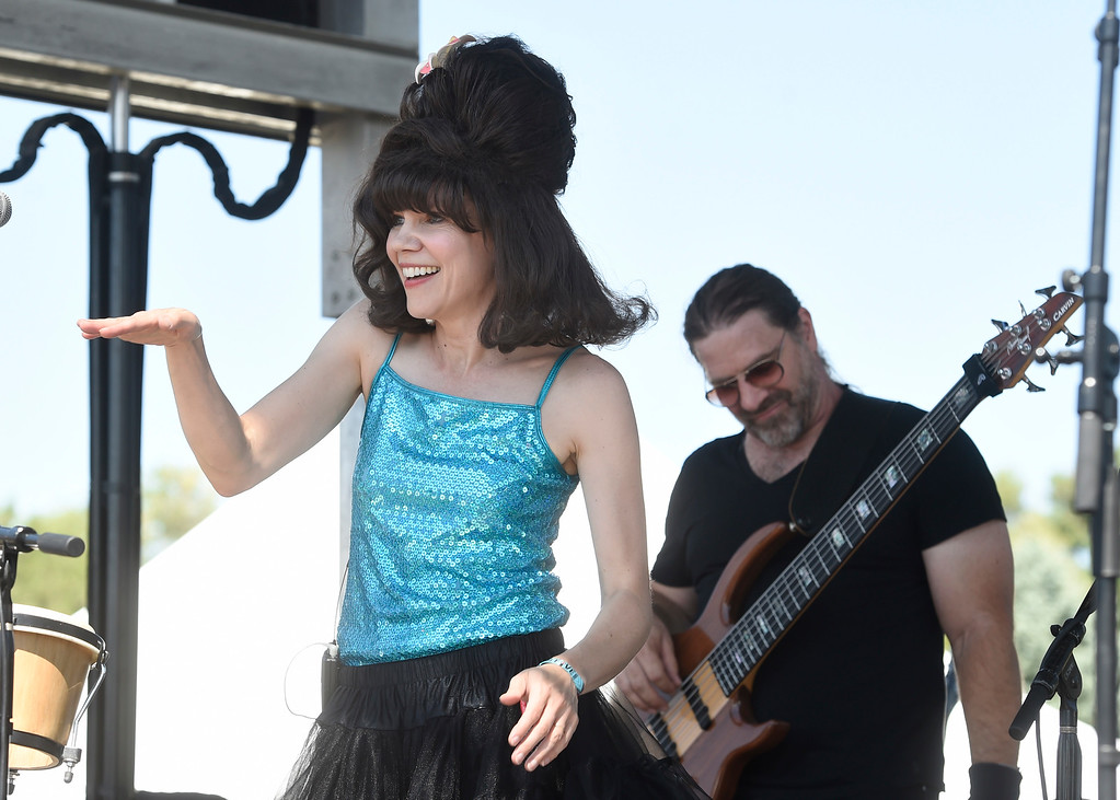 . LONGMONT, CO: August 11:  Deb Britton, of Hey Lady! dances to Rock Lobster. Hey, Lady!, a B-52s tribute band from Longmont, played at Leftapalooza in Longmont on Saturday. (Photo by Cliff Grassmick/Staff Photographer).