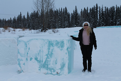 I wanted to illustrate the scale of the individual blocks of ice that are carved at the International Ice Sculpture contest held in Fairbanks, Alaska, every February to March.  This was taken by my husband, Harry,  near where the ice is harvested.