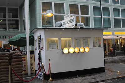 Checkpoint Charlie, the line between East and West Berlin.