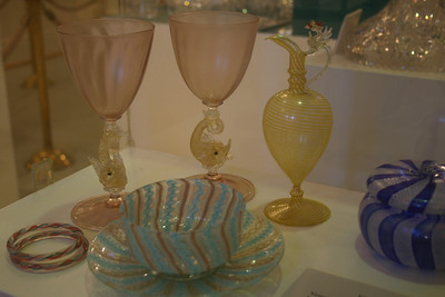 ...and for the ribbon-like glass seen here. Love these pink goblets!