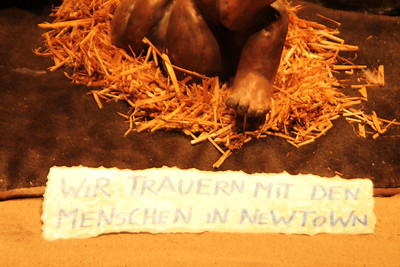 We were touched when we saw this hand-written homage to the victims of the Newtown massacre at a manger scene. Newtown had just occured the week before.