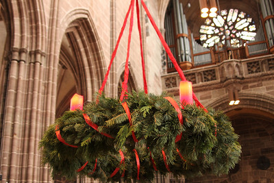 I loved the Advent wreaths that hung, suspended, in many churches.