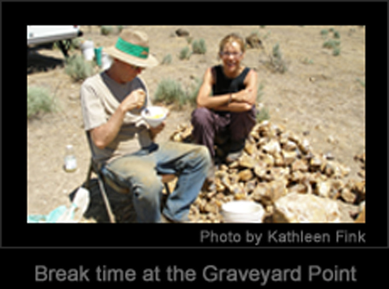 A very low resolution image of Fabiola keeping me fed at the Regency Rose claim at Graveyard Point, Oregon, where Gene Mueller and Jake Jacobitz were mining around 2010.