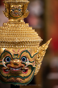 Golden Face Ravana, Khon (Thai Pantomime) Mask by Worawinai Hiranmas, the Root of Thai Art from Century to Century Exhibition, Bangkok Art and Culture Centre (BACC)