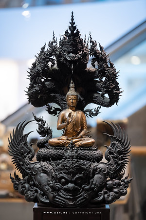 Buddha over Sorrow and Happiness by Chalermchai Kositpipat, the Root of Thai Art from Century to Century Exhibition, Bangkok Art and Culture Centre (BACC)