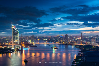 Bangkok Cityscape view from Lumpini Park Riverside, Rama III Road