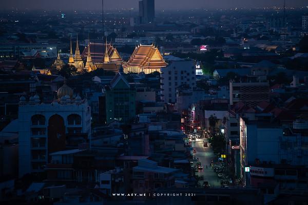 Wat Pho and the Cityscape of Bangkok