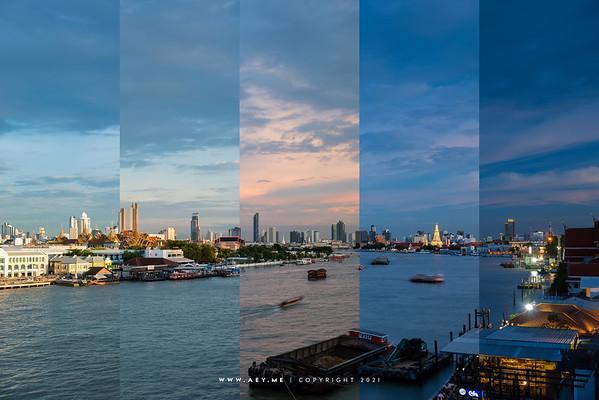 Grand Palace & Chao Phraya River view from 342 Bar, Baan Wanglung Riverside