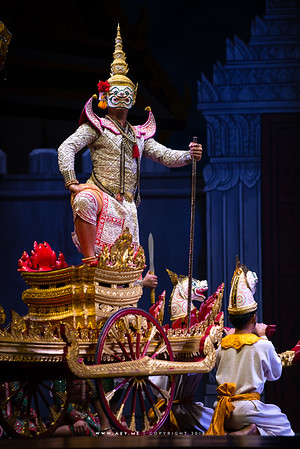 """Sahassadeja, Khon, Ramayana, the Episode of """"The Three Demon Armies"""" at the National Theater, Bangkok"""