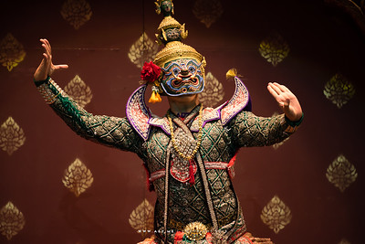 "Ravana (Tosakan), King of the Demons of Lanka, Khon, Ramayana, the Episode of ""The Three Demon Armies"" at the National Theater, Bangkok"