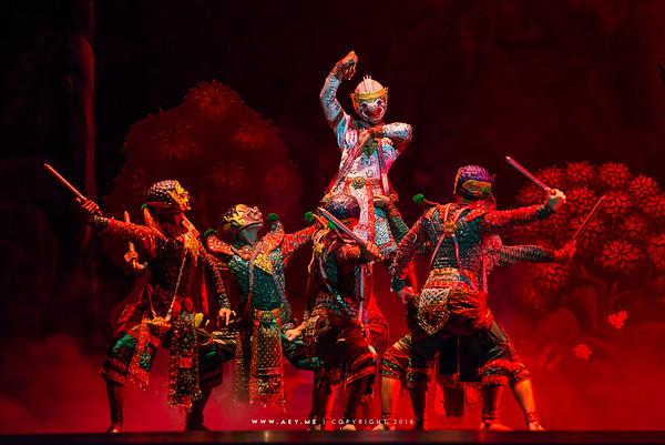 "Hanuman, Khon, Ramayana, the Episode of ""The Three Demon Armies"" at the National Theater, Bangkok"