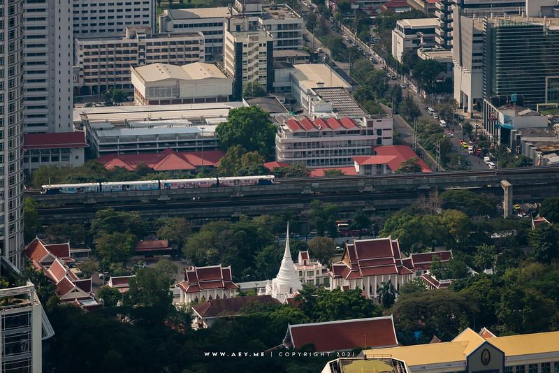 Wat Pathum Wanaram & Bangkok Cityscape view from Baiyoke Sky Hotel
